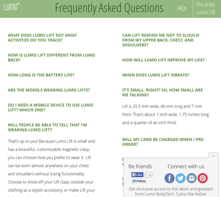 LUMO FAQ